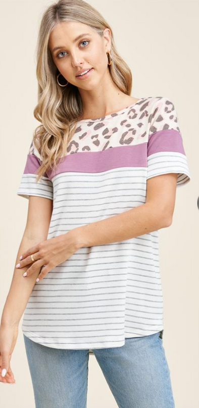 Leopard + Stripe Color Blocked Tee
