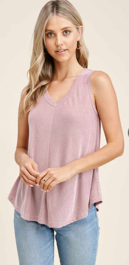 Ribbed V-Neck Swing Tank
