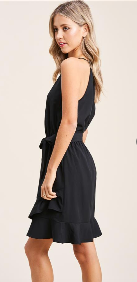 Ruffle Hem Halter Dress