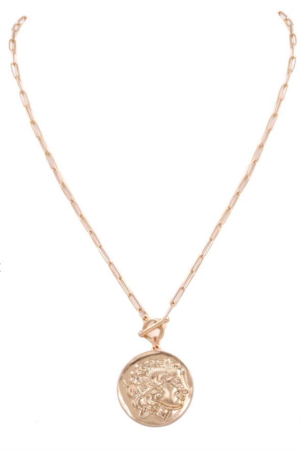 Short Coin Toggle Necklace