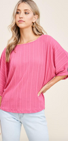 Pointelle Knit Dolman Top