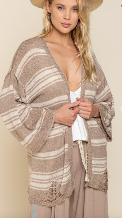 Distressed Hem Striped Cardigan