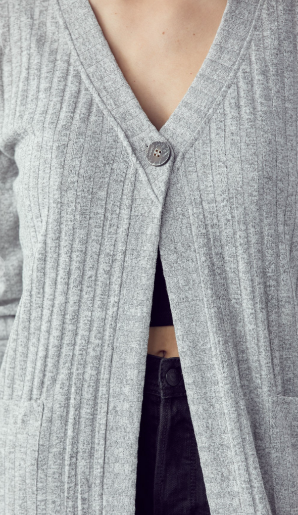 Button Detail Ribbed Duster Cardigan