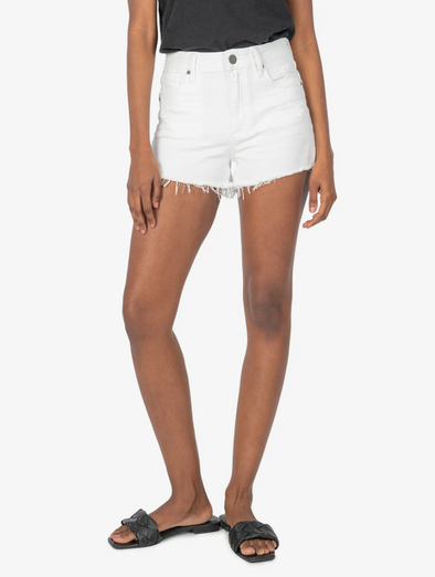Relaxed Raw Edge White Shorts