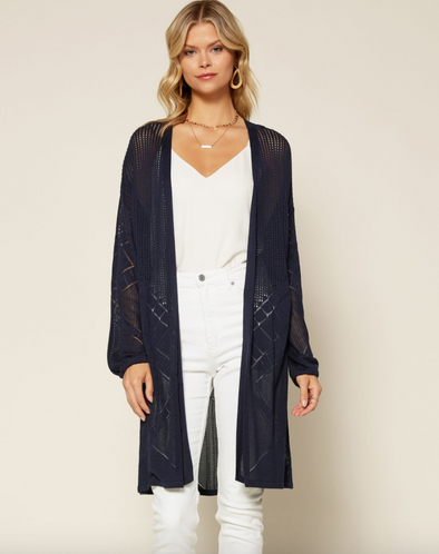 Pointelle Stitch Duster Cardigan