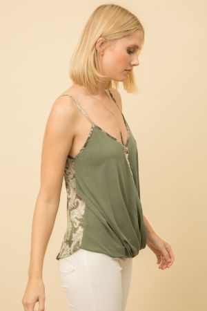 Mixed Media Surplice Tank