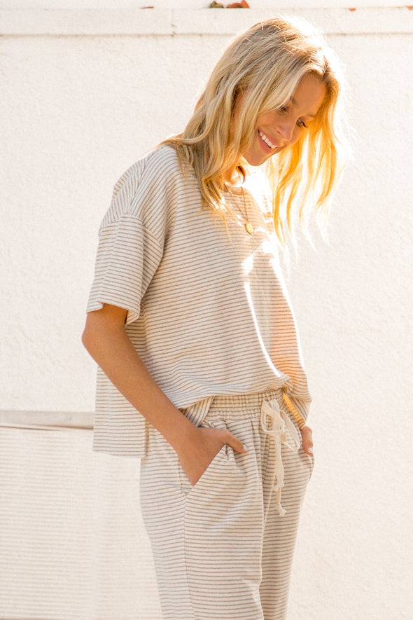 Neutral Striped Lounge Top