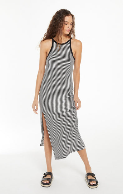Striped High Neck Midi Dress