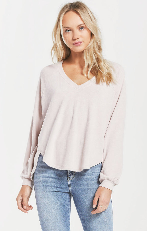Spring V-Neck Slub Knit Sweater