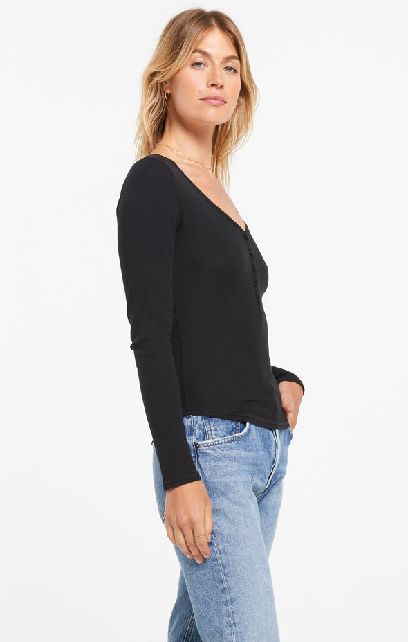 Ribbed Long Sleeve Henley Top