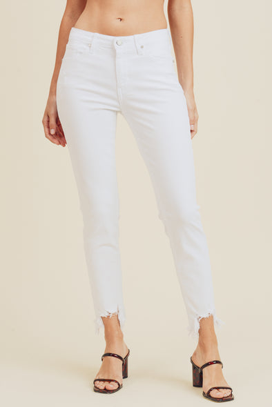 White Distressed Hem Step Up Jeans