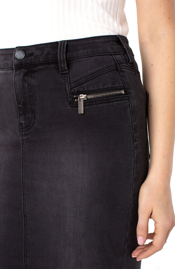 Zipper Detail Denim Skirt