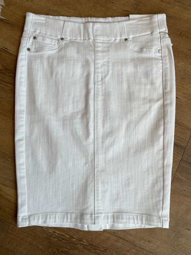 White Pull On Denim Skirt