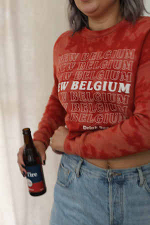 New Belgium Tie-Dye Crop Sweatshirt Top