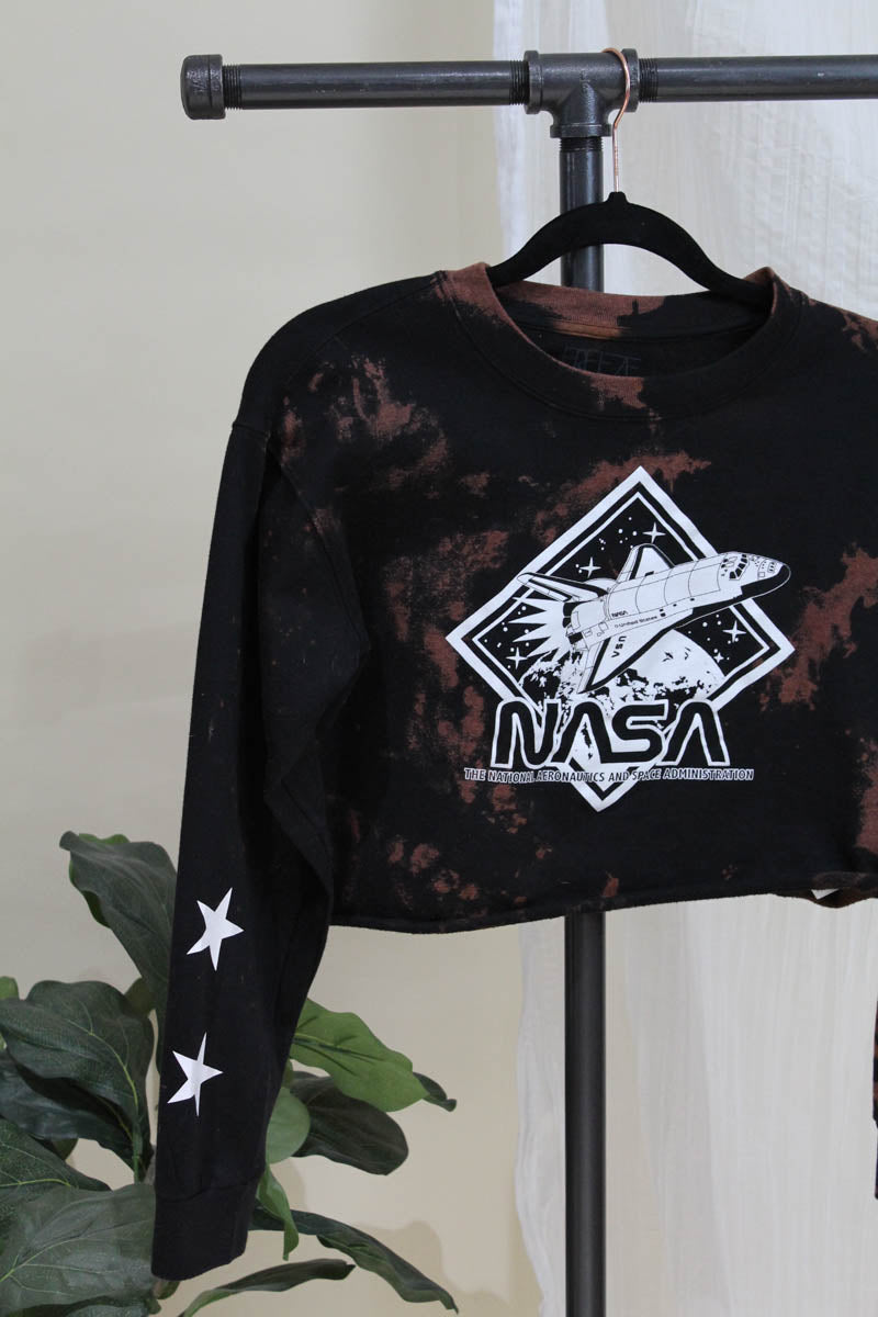 NASA Crop Sweatshirt Top