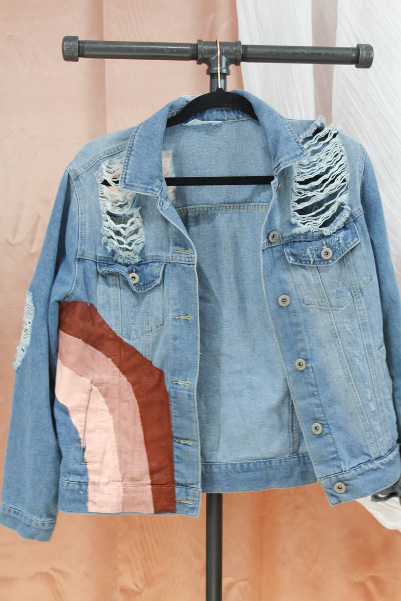 Muted Rainbow Denim Jacket