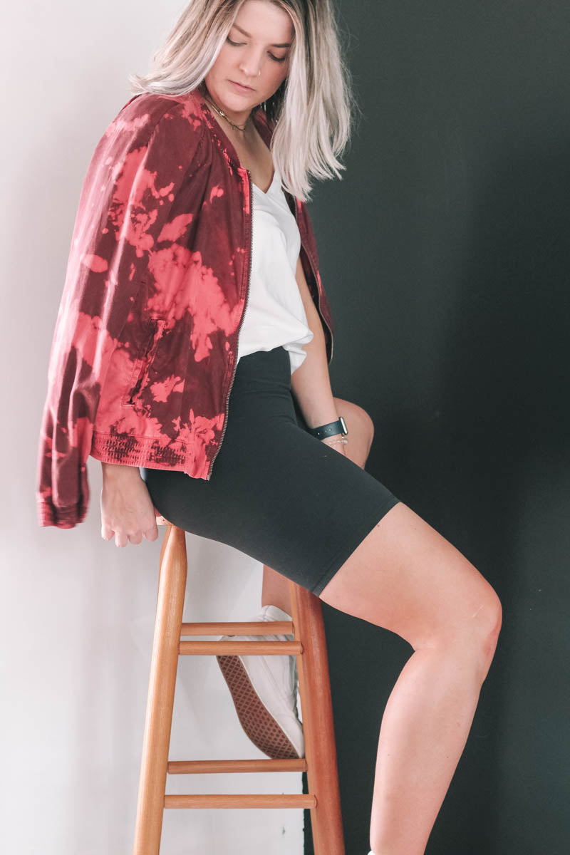 Red Tie-Dye Bomber Jacket