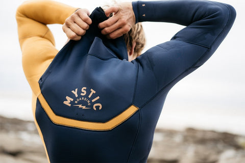 Mystic Boarding logo on the back of a Mystic Wetsuit