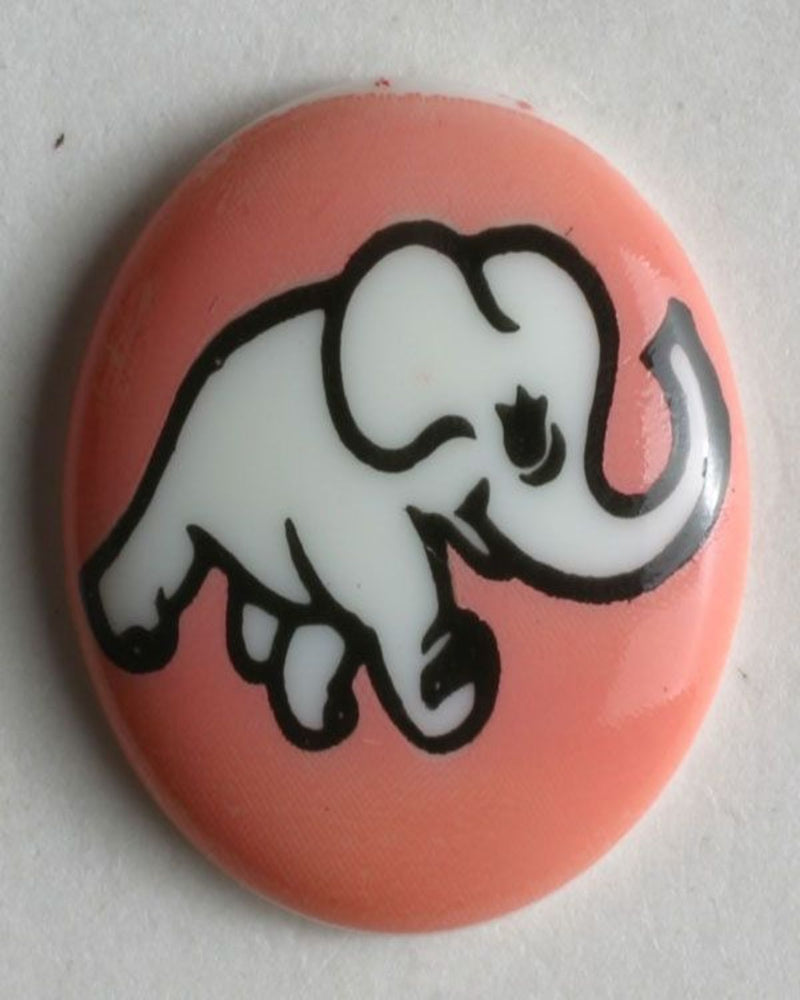 Button - Cutes  15mm - Pink Elephant