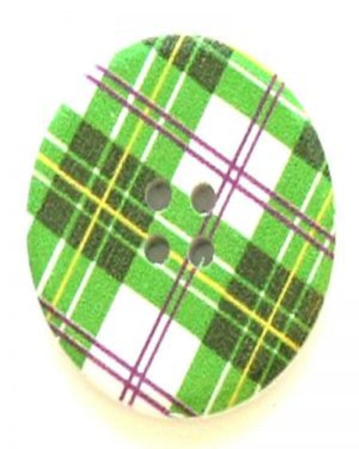 Button - Large  30mm - Green Plaid Round