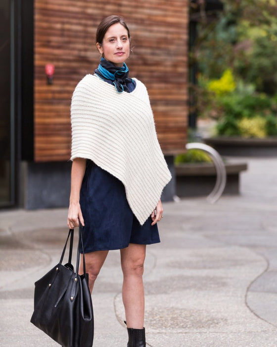 CMY Pattern - TWICE REVERSIBLE RIBBED PONCHO