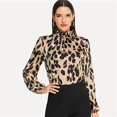 Mock Neck Women's Leopard Print Frill Top