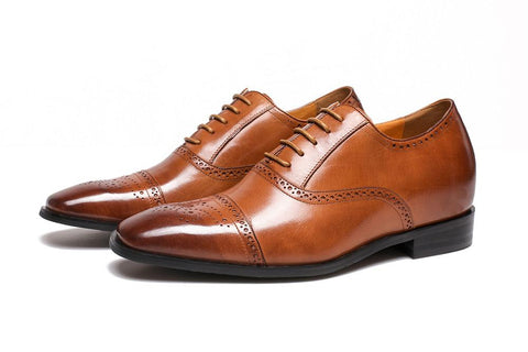 OOFY TALL BROWN Men's Height Increase Shoes Leather