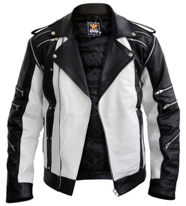 Michael Jackson White Genuine Leather Jacket