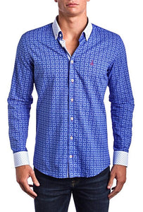 Signature Blue -Slim Fit Men's dress shirt - Blue/White (Red Embroidered Logo)