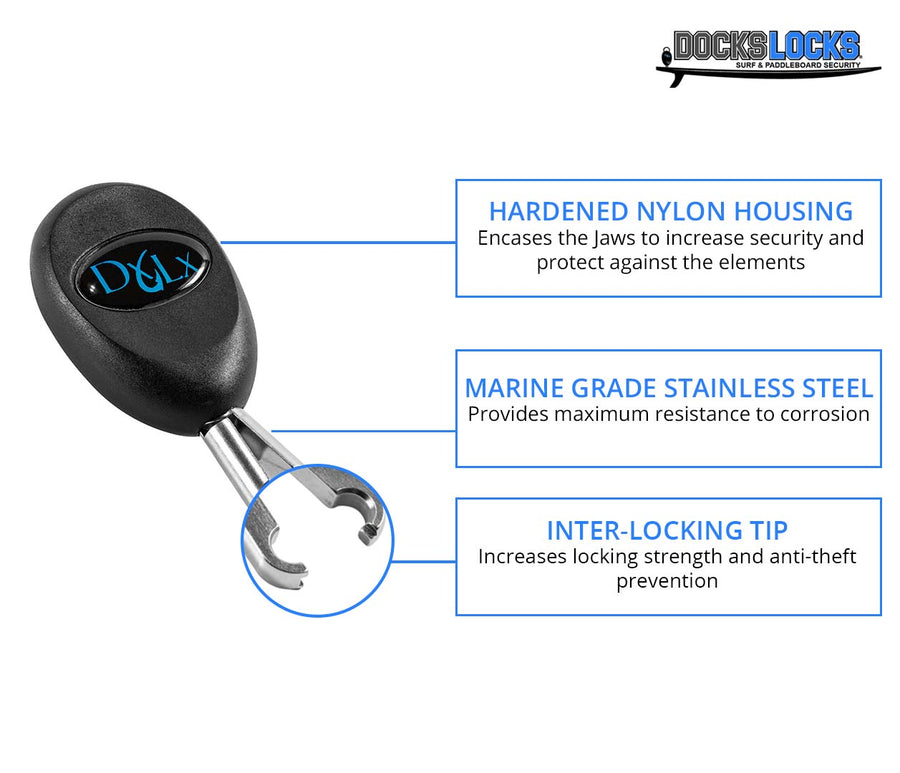 DocksLocks® Jaws SUP Paddleboard and Surfboard Anti-Theft Security Lock
