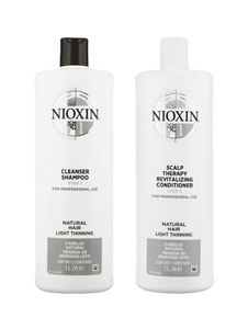 Nioxin System 1 Cleanser Shampoo and Scalp Therapy Revitalising Conditioner 1L Duo