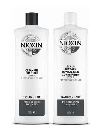 Nioxin System 2 Cleanser Shampoo and Scalp Therapy Revitalising Conditioner 1L Duo