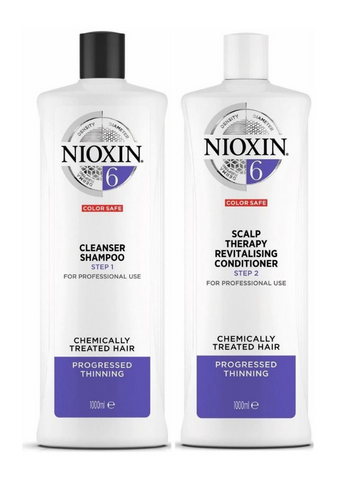 Nioxin System 6 Cleanser Shampoo and Scalp Therapy Revitalising Conditioner 1L Duo
