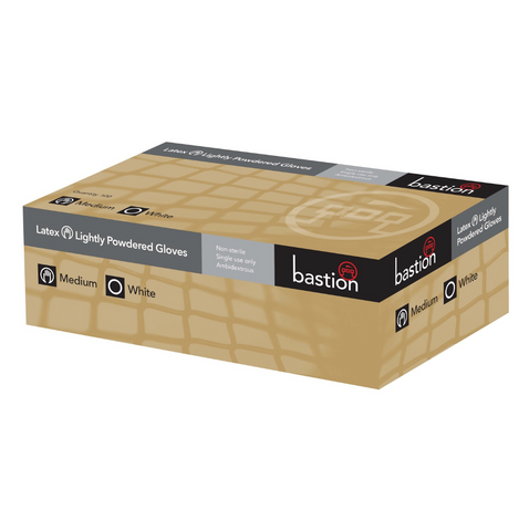 Bastion Glove 100pk Latex Lightly Powdered Large