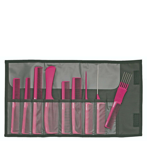 Jaguar Ionic 9 Piece Comb Set with Case Pink