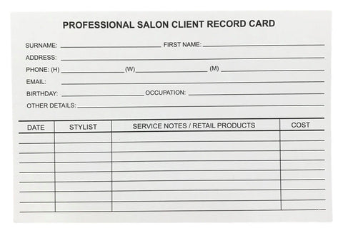 Salon Record Cards
