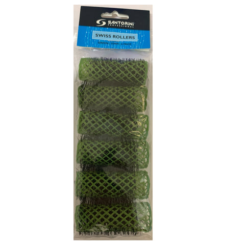 Santorini Swiss Brush Rollers - Green 25mm - 6pk