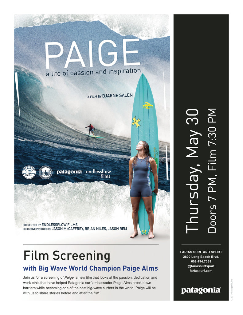 Patagonia Surf Ambassador PAIGE ALMS @ Farias- Thursday May 30th