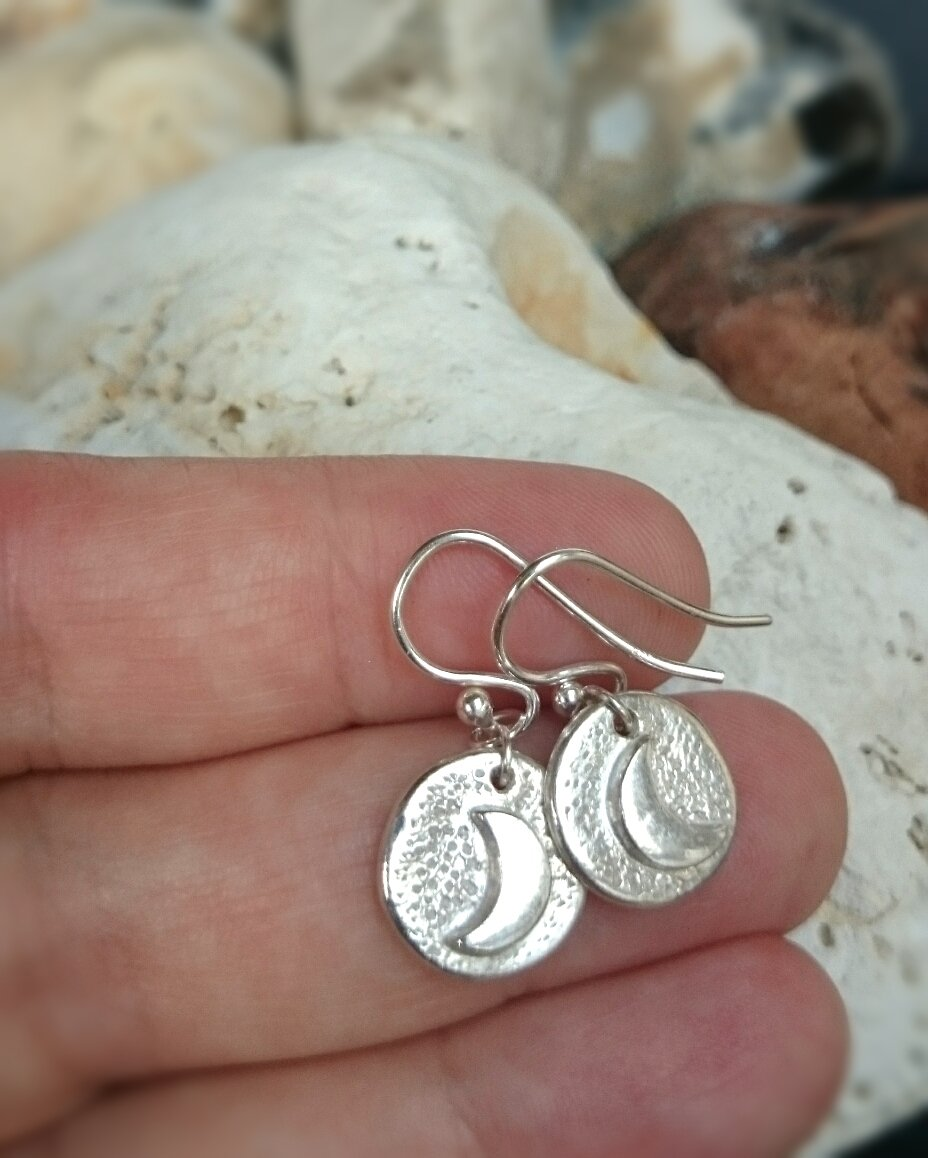 Crescent Moon Recycled Silver Earrings