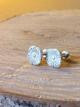 Load image into Gallery viewer, Flora Recycled Silver Stud Earrings