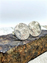 Load image into Gallery viewer, Full Moon Textured Recycled Silver Stud Earrings