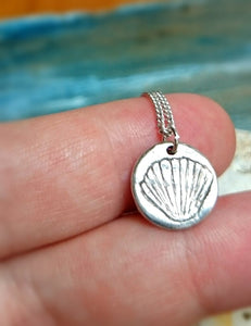 Cockleshell Tiny Recycled Silver Pendant
