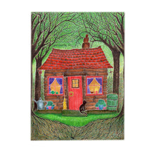 Load image into Gallery viewer, Black Cat Cottage Art Print