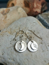 Load image into Gallery viewer, Crescent Moon Recycled Silver Earrings