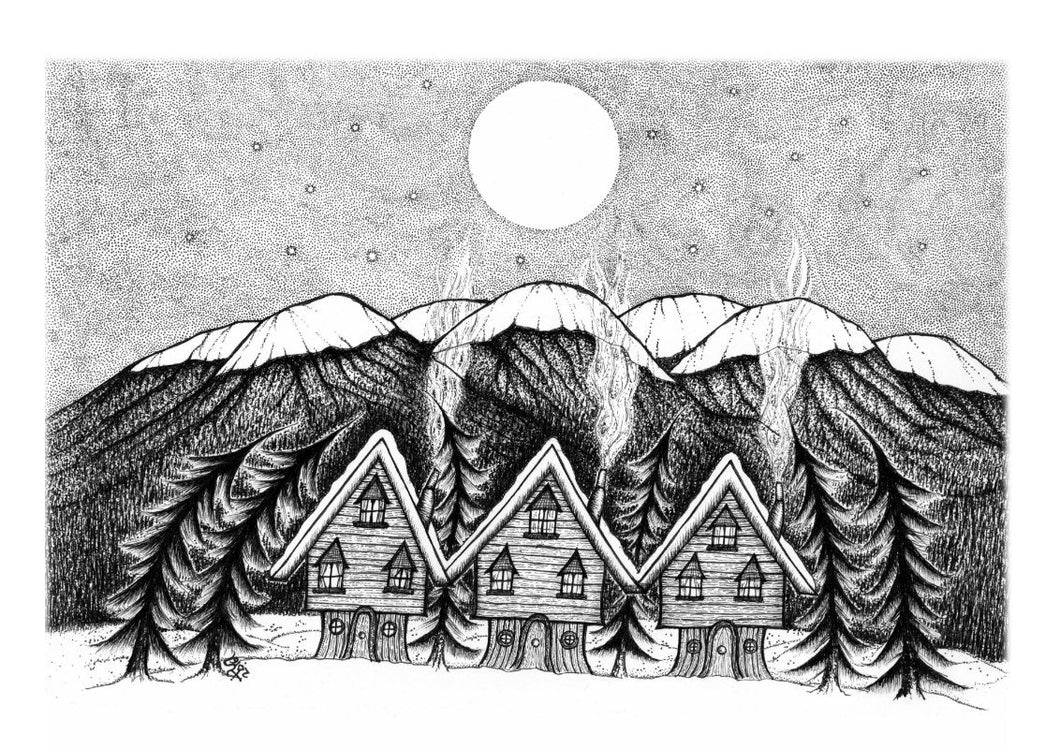 Midwinter Village Art Print