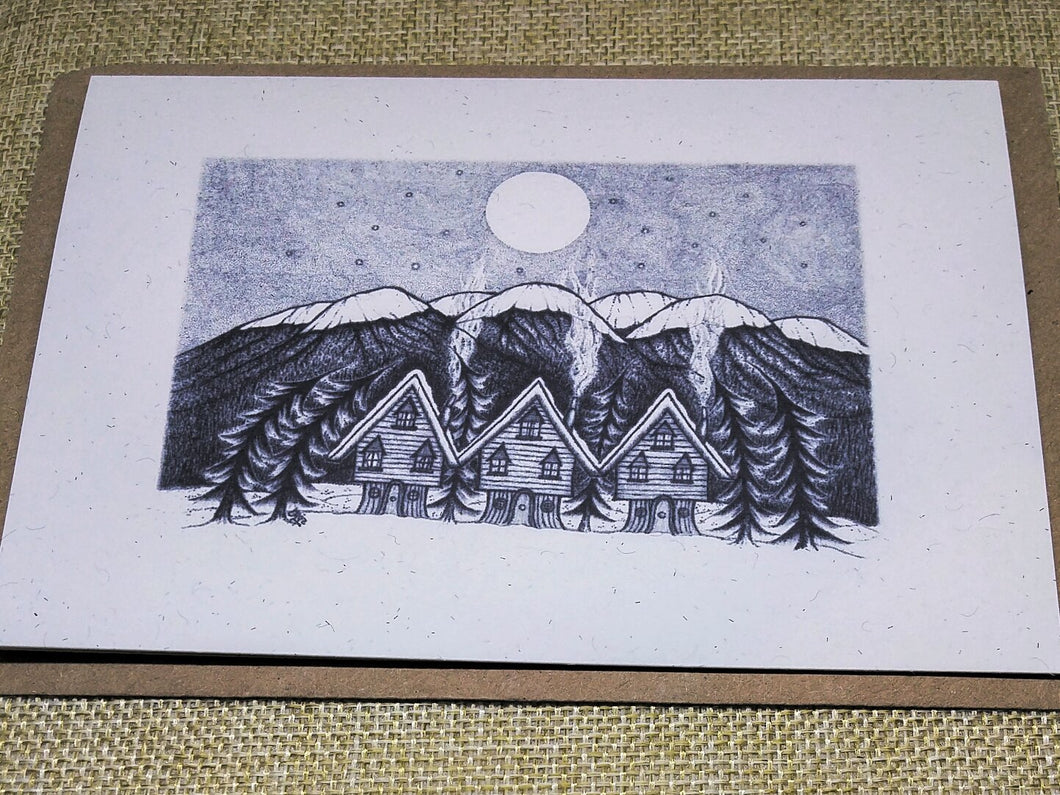 Midwinter Village Eco-Friendly Greetings Card