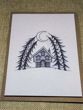Load image into Gallery viewer, Crescent Moon Cabin  Eco-Friendly Greetings Card