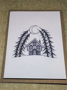 Crescent Moon Cabin  Eco-Friendly Greetings Card