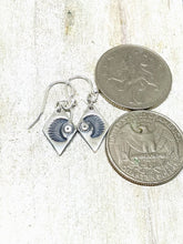 Load image into Gallery viewer, Dark Moon Rustic Recycled Silver Earrings