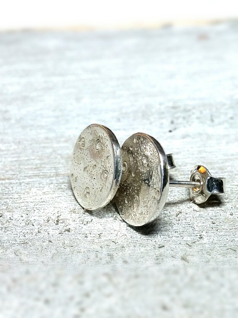 Full Moon Textured Recycled Silver Stud Earrings